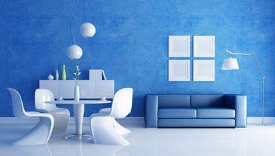 دکوراسیون خانه, خانه ای به رنگ آبی, ویژگی دکوراسیون آبی