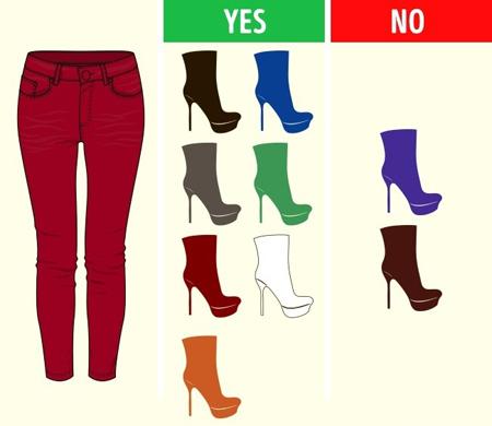 آشنایی با کفش های مناسب شلوارهای رنگی,ست کردن رنگ شلوار با کفش
