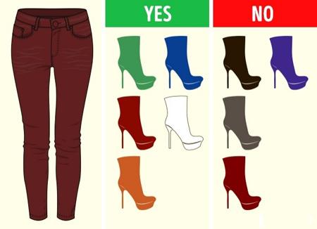 ست های رنگی کفش و شلوار, راهنمای ست کردن کفش و شلوار