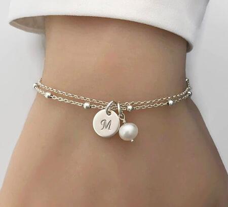 دستبند مرواریدی مدرن,شیک ترین مدل دستبند مرواریدی,دستبند طلای مروارید