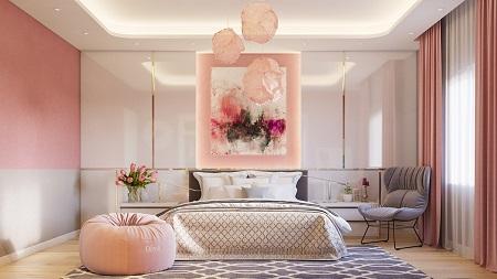 دکوراسیون اتاق خواب صورتی مدرن, اتاق خواب صورتی مدرن, اتاق خواب صورتی