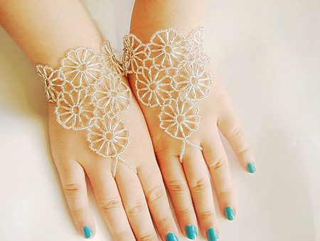 دستبند انگشتری نگینی,تصاویر دستبند انگشتری