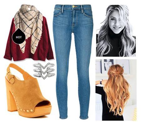 ست های پاییزی شلوار جین,شیک ترین ست های پاییزی به سبک شکیرا