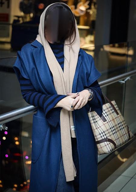 ست شال و روسری با مانتو آبی, شیک ترین ست های مانتو آبی