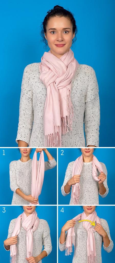 گره های مناسب بستن شال و روسری,انواع گره برای بستن روسری