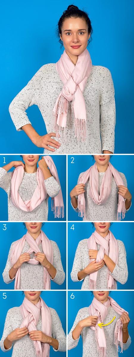 شیوه بستن شال و روسری, آموزش تصویری بستن شال و روسری