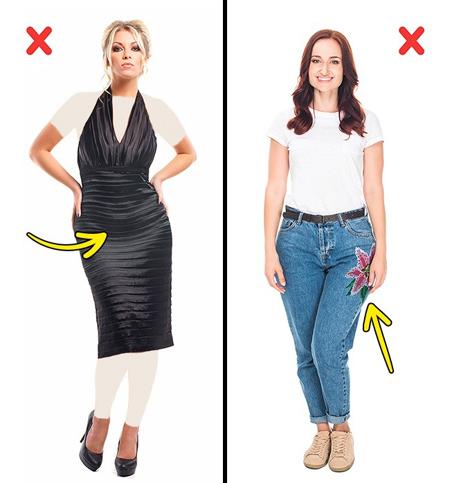 اصول و نحوه پوشش لباس,تکنیک های لاغر شدن