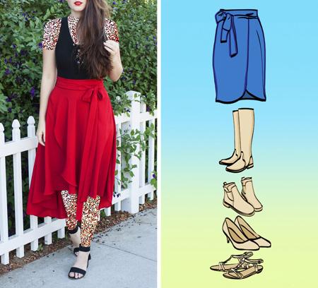کفش های مناسب دامن های مختلف,راهنمای پوشش کفش و دامن