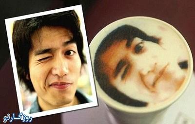 اقدام کیوسک های زنجیره ای فروش قهوه , تصویر افراد روی لیوان قهوه