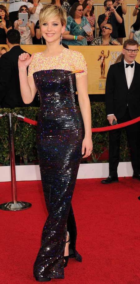 اخبار,اخبار فرهنگی,هنرمندان هالیوودی در مراسم SAG,پوشش Jennifer Lawrence در مراسم SAG