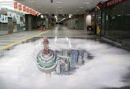 نقاشی سه بعدی در متروی سئول