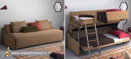 مبلی که تخت خواب 2 طبقه می شود عکس