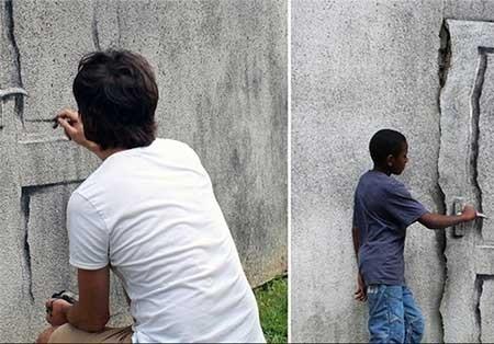 اخبار,اخبار گوناگون ,هنرنمایی روی دیوار تَرَک خورده