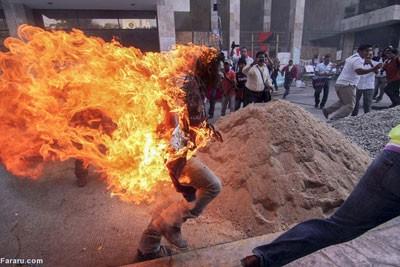 اخبار,اخباربین الملل ,خودسوزی معترض مکزیکی
