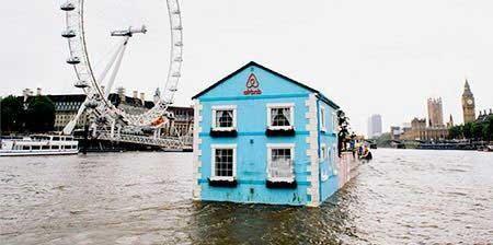 اخبار,اخبار گوناگون ,خانه ای با تجهیزات شناور بر روی رودخانه