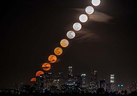 اخبار,اخبار علمی,تصاویر زیبا از بالا رفتن تدریجی ماه در آسمان