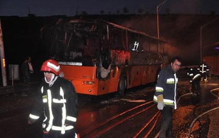 اخبار,اخبار حوادث,آتش سوزی اتوبوس
