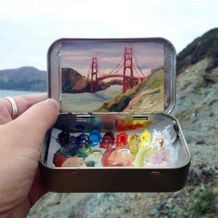 اخبار,اخبار گوناگون,هنرمندی که با استفاده از رنگ مناظر طبیعی را به صورت مینیاتوری نقاشی می کند