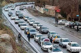ترافیک سنگین در جاده آمل - تهران