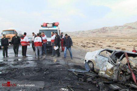 تصادف شدید وانت نیسان با تندر۹۰؛ همه سرنشینان در آتش سوختند/تصاویر