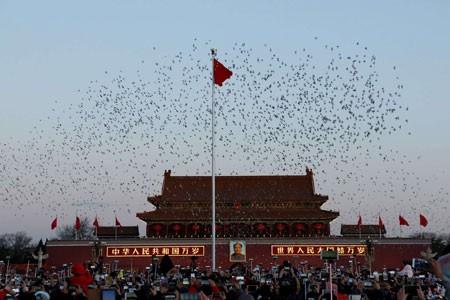 عکسهای جالب,عکسهای جذاب, اهتزاز پرچم چین