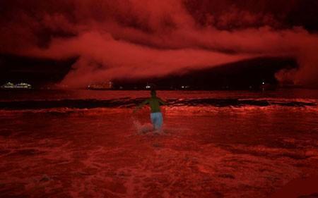 عکسهای جالب,عکسهای جذاب,قرمز شدن ساحل کاپاکانانای برزیل