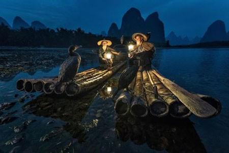 عکسهای جالب,عکسهای جذاب,دوماهیگیر و مرغابی