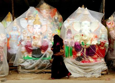 عکسهای جالب,عکسهای جذاب, مجسمه های جشنواره هندوها