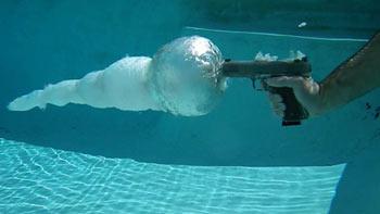گلوله,سرعت گلوله در آب,میزان نفوذ گلوله در آب